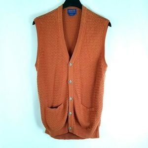 Pendleton Mens Sweater Vest Burnt Orange Sleevless